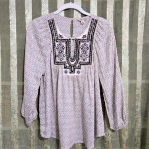 Lucky Brand Top with Embroidery Detail, S